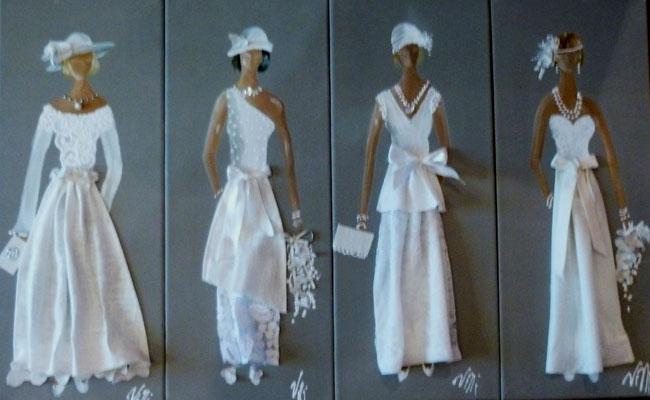 """""""Élégantes en blanc"""" 4x20x50"""