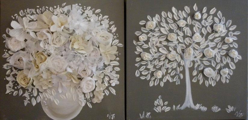 """""""Arbre et bouquet à leds """" 2x50x50"""