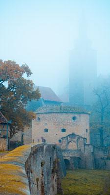 Burg in Querfurt im Nebel