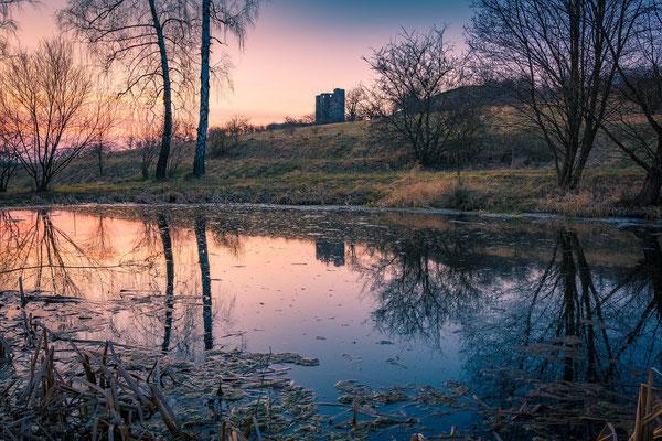 Burg Arnstein im Harz am Abend
