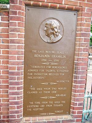 Philadelphia Reise Benjamin Franklin Grab