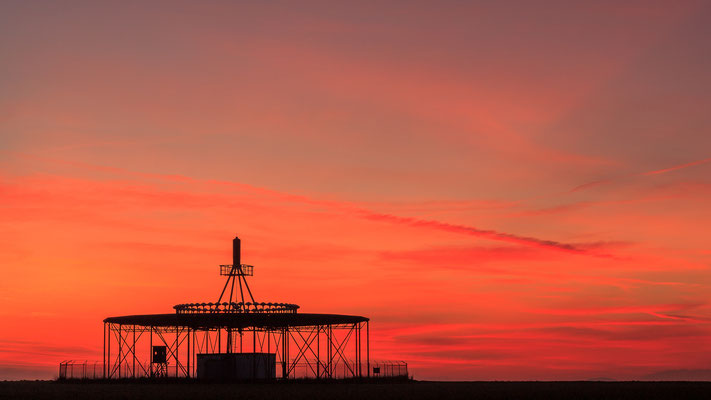 Sonnenuntergang am Drehfunkfeuer Melle-Gesmold