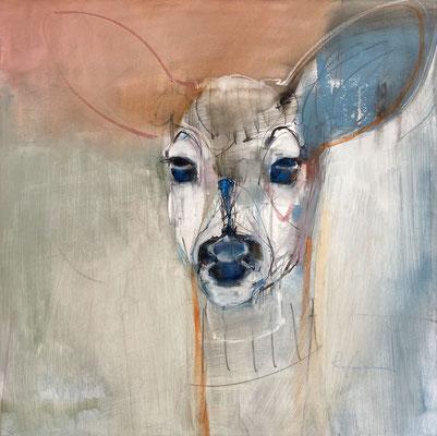 "Blue Eyes  16x16""  oil on panel"