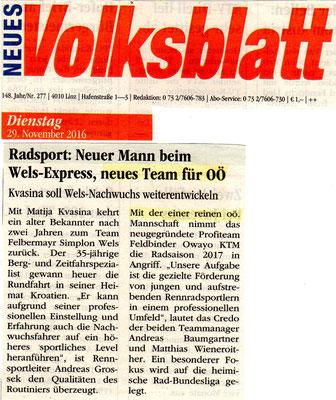 Neues Volksblatt vom 29. November 2016