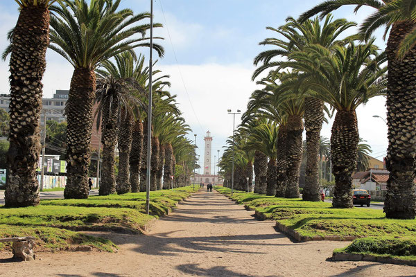 AVENUE FRANCISCO DE AGUIRRE PHARE AU FOND LA SERENA CHILI