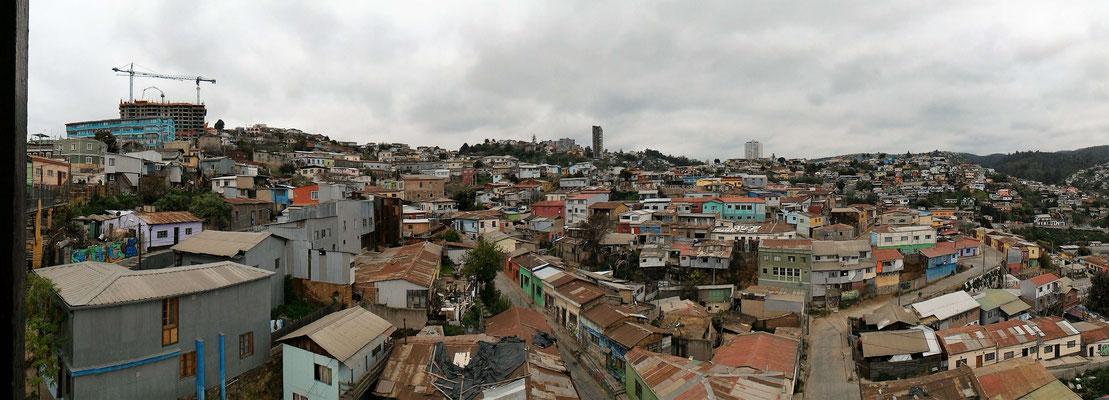 PANORAMIQUE DU HAUT ASCENSEUR POLANCO  VALPARAISO CHILI