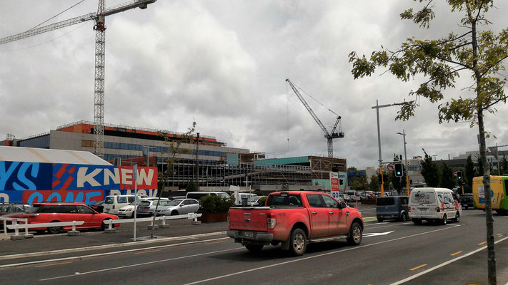 CHRISTCHURCH EST UN ENORME CHANTIER DE RECONSTRUCTION SUITE AUX 2 SEISMES DE 2011  ILE DU SUD NZ