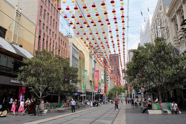 LA BOURKE STREET MALL SUR LE PARCOURS ARCADES ET LANES MELBOURNE AUSTRALIE