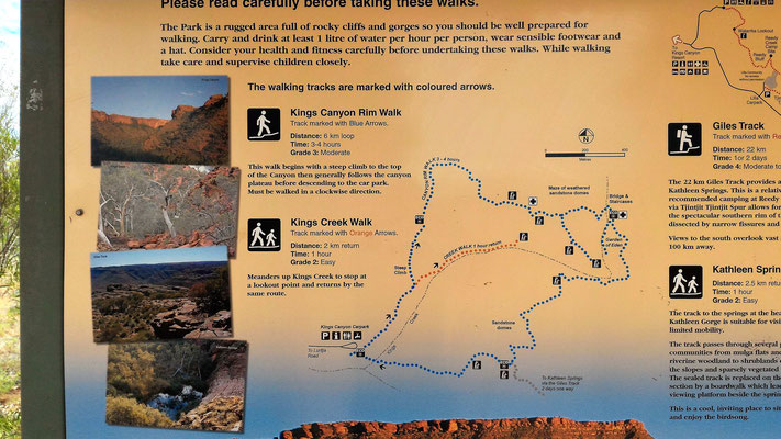 LE PLAN DES RANDONNEES KINGS CANYON NP CENTRE ROUGE AUSTRALIE