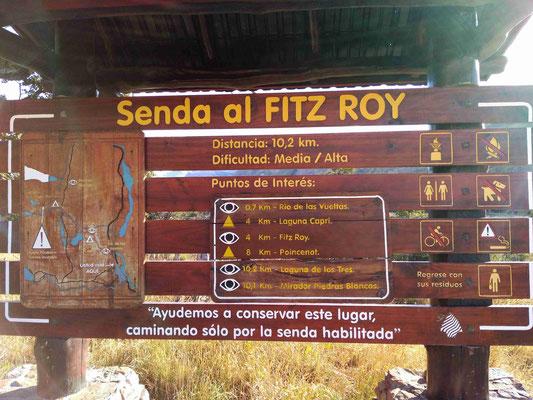 PANNEAU INFORMATION DU SENTIER DU FITZ ROY A EL CHALTEN PANAGONIE ARGENTINE