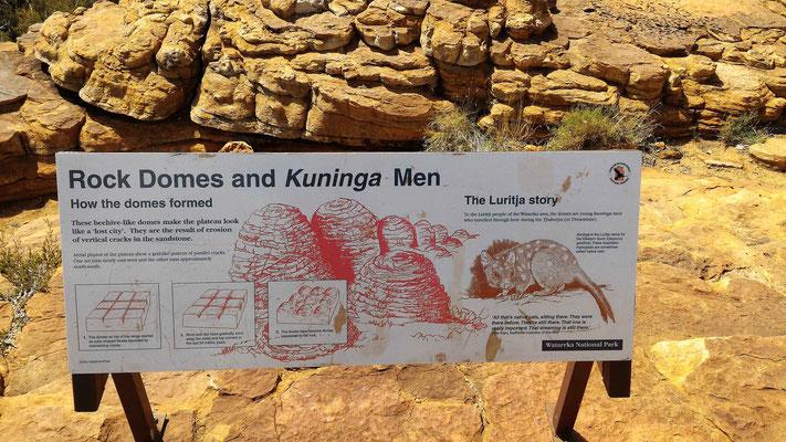 PANNEAU EXPLICATION FORMATION DES DOMES SUR LA RANDO RIM WALK A KINGS CANYON NP CENTRE ROUGE AUSTRALIE