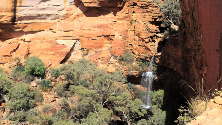 ASCADES ET CANYON A LA FIN 2° TIERS RANDO RIM WALK A KINGS CANYON NP CENTRE ROUGE AUSTRALIE