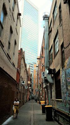 IMPASSE SUR LITTLE BOURKE STREET SUR LE PARCOURS ARCADES ET LANES MELBOURNE AUSTRALIE