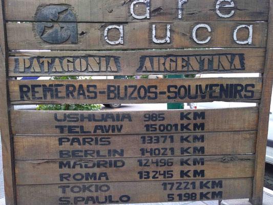 QUELQUES DISTANCES DEPUIS EL CALAFATE EN PATAGONIE
