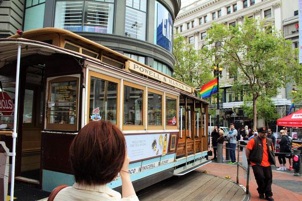 LE PERSONNEL FAIT  FAIRE DEMI TOUR MANUELLEMENT AU CABLE SUR LE PLATEAU TOURNANT SAN FRANCISCO CALIFORNIE