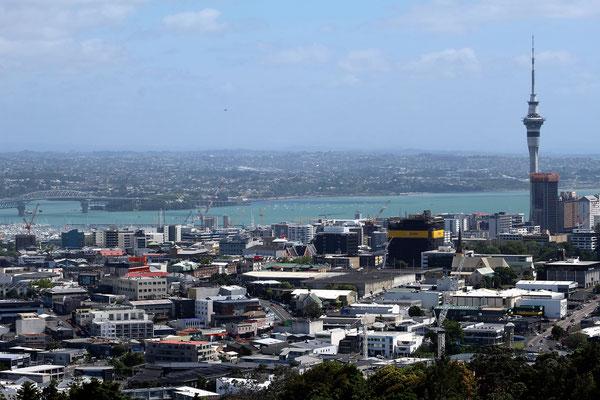 VUE SUR LE CENTRE VILLE ET LA BAIE DEPUIS MONT EDEN AUCKLAND ILE DU NORD NZ