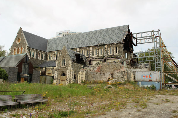 CATHEDRALE SQUARE EN TRAVAUX SUITE TREMBLEMENT DE TERRE DE 2011 CHRISTCHURCH ILE DU SUD NZ