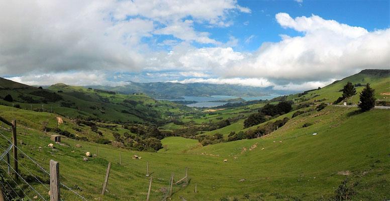PAYSAGE SUR LA TAI TAPU ROAD LAC FORSYTH ENTRE CHRISTCHURCH ET AKAROA ILE DU SUD NZ