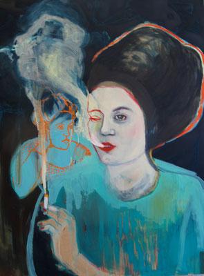 """""""smoke4"""", öl und acryl auf mdf, ca. 110x 80 cm"""