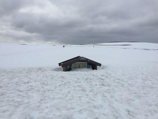 Es liegt noch etwas Schnee hier - ca. 5km vor dem Nordkapp