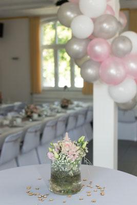 Deko der Hochzeit im Saal