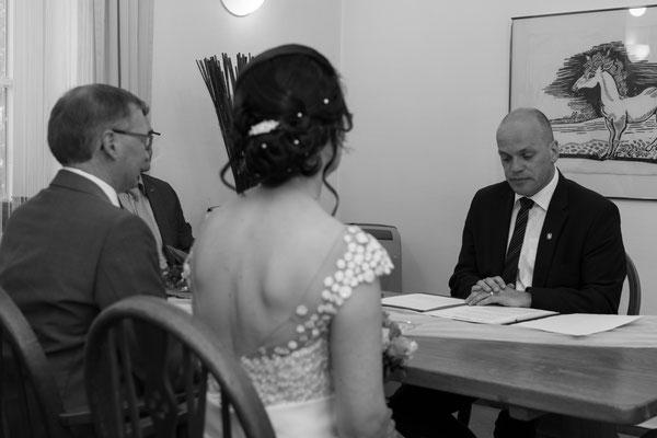 Schwarz weiß Fotografie der Braut