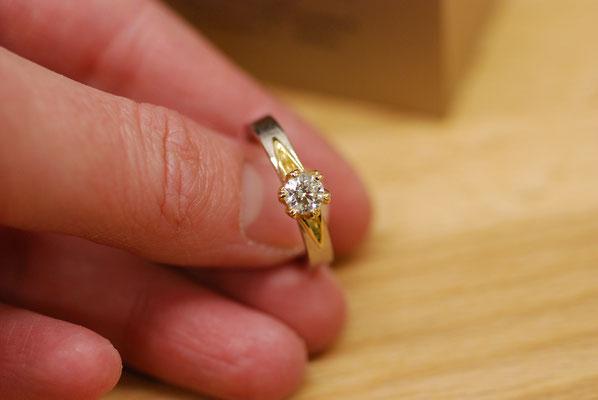 Verlobungsring aus 750 Gelb- und Weißgold mit Diamant