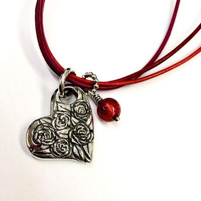 Herz mit Rosen aus Silber