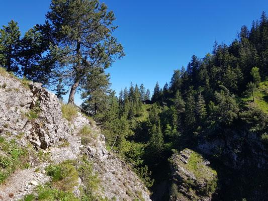 Am Gegenhang ist die Jagdhütte noch zu sehen