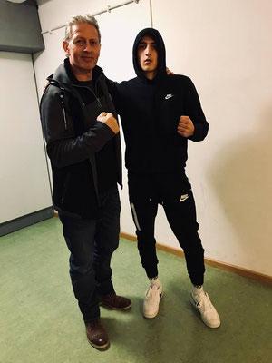 David Gadzhiev mit Trainer Dani Ryter - Box-Ring Zürichsee Horgen