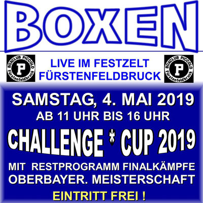 BRZ mit Dave boxt am 04.05.2019 Challenge-Cup mit Finalkämpfe - Oberbayrische Meisterschaft.