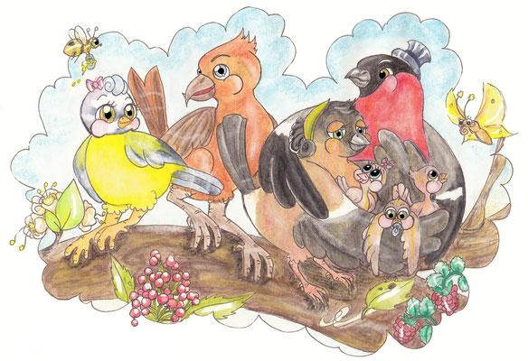 Blaumeise, Fichtenkreuzschnabel, Dompfaff, Kinderbuchillustration