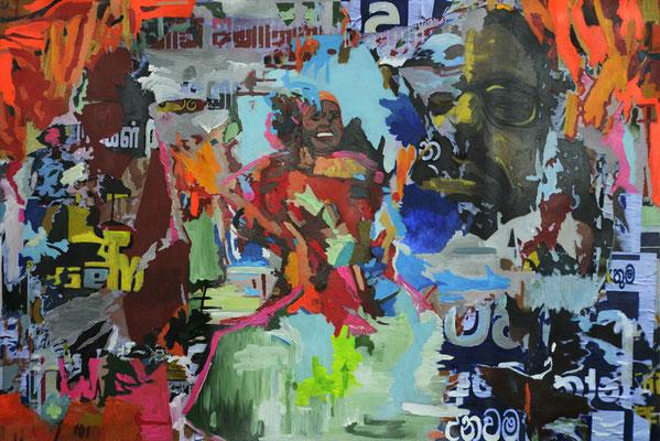 En el muro. Impresión y acrílico s/lienzo. 144x96 cm. 2016