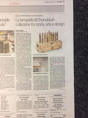 """Articolo nel giornale """"LA STAMPA"""" su l'entrata del Hanukkah nel Museo Ebraico di Casale Monferrato 2019"""
