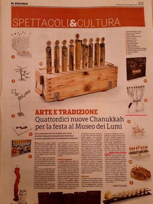 """Articolo nel giornale """"IL PICCOLO"""" su l'entrata del mio Hanukkah al Museo Ebraico di Casale Monferrato 2019"""