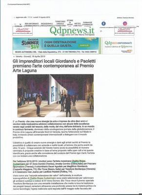 Articolo sul Premio Arte Laguna sul Qdpnews.it 2019