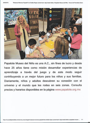 Articolo su Papalotl al Museo Papalote, Messico 2019