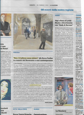 """Articolo su """"LA NAZIONE"""" della Mostra Perugia: NON C'È BELLEZZA SENZA MISTERO 2020"""