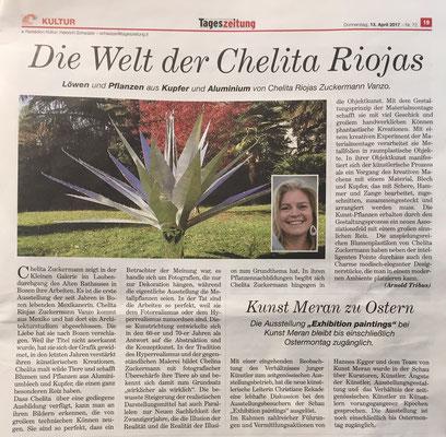 Articolo sul quotidiano Tageszeitung 2017