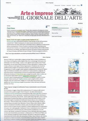 Articolo sul Premio Arte Laguna 2019