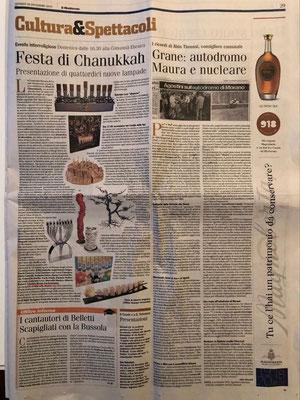 """Articolo nel quotidiano """"Il Monferrato"""" su l'entrata del mio Hanukkah nel Museo Ebraico di Casale Monferrato 2019"""