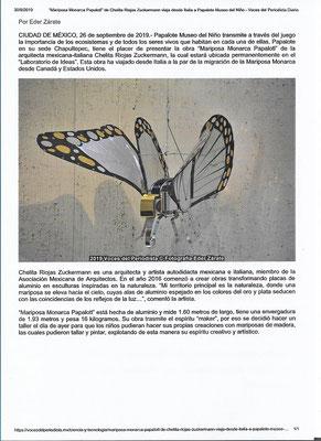 Articolo sulla farfalla Papalotl al Museo Papalote, Messico 2019