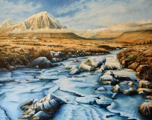 Frozen stream, Stob Dearg // 100 x 80 cm // oil on canvas // 🟢