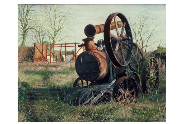 Traction Engine // egg tempera on panel