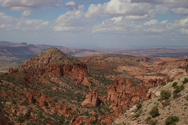Blick auf Moab und das dahinter liegende Canyon Land