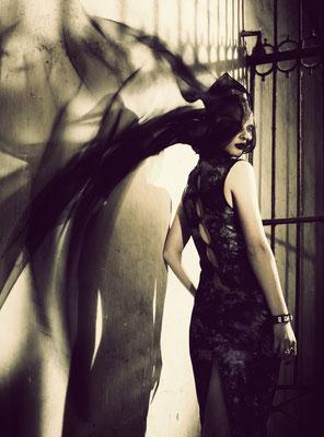 """vampara"" editorial for designer arajo - photographer: andreas waldschuetz - styling: adia trischler - hair: patrick glatthaar - makeup: anie lamm-siu"