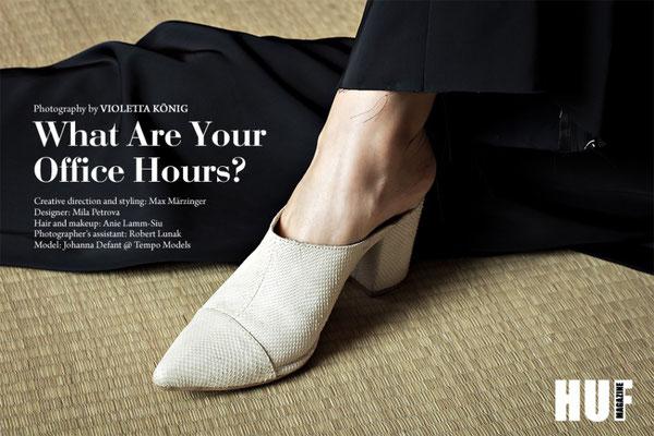 What are your office hours? online editorial for HUF magazine - photographer: violetta könig - assistant: robert lunak - creative director/styling: max märzinger - designer: mila petrova  - hair/ makeup: anie lamm-siu - model: johanna defant @tempomodels