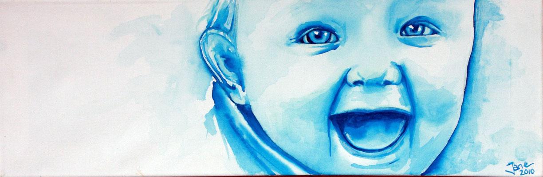 Baby-Portrait (nach Foto) Aquarell auf Leinwand 90,-