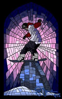 Kirchenfenster Snowboarder 100 ,-
