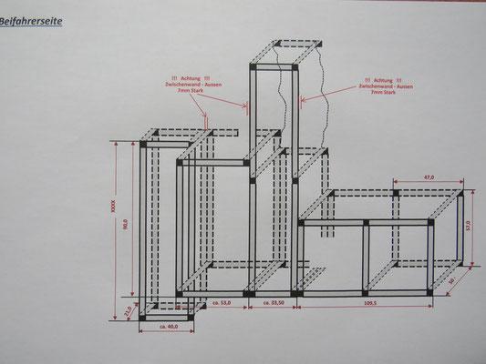 Vermassung der Alukonstruktion